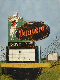 "Drive In Movie, Daniel Blagg, watercolor on paper, 35 x 27 1/2"""