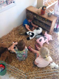 Themahoek kinderboerderij  in onze peuterklas. Met een hekwerkje voor knaagdieren en wat zakken stro. Grote dieren knuffels van de kringloop. Succes verzekerd