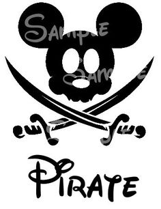 Could work as a wall piece --- Pirate Mickey and swords silhouette Printable DIY digital file