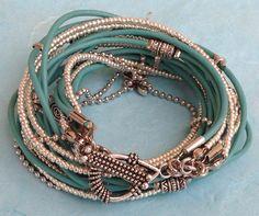 Leather Wrap Bracelet Light Turquoise Bracelet by DesignsbyNoa