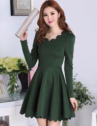 Vogue Scallop Edge Pure Color Flare Dress For Women