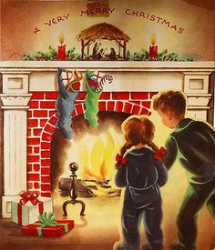 Little Boy & Girl in Front Fireplace Wait for Santa Vintage Christmas Card Christmas Card Images, Holiday Pictures, Vintage Christmas Cards, Vintage Holiday, Christmas Greeting Cards, Christmas Greetings, Christmas Postcards, Christmas Time, Christmas Things