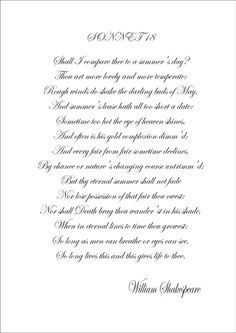 Sonnet 18 - Shall I Compare Thee - William Shakespeare - A4 Poster Print