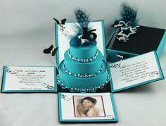 Azul turquesa y negro explosión invitaciones caja por JINKYSCRAFTS