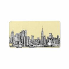 NYC drawing in cream ivory Custom Address Label