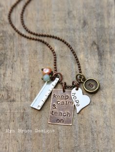 Keep calm and teach on  new Teacher necklace  by MyaBruceDesigns, $35.00