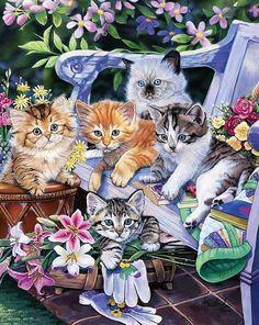 А давненько не было у нас умильных котят. Jenny Newland - веселая семейка