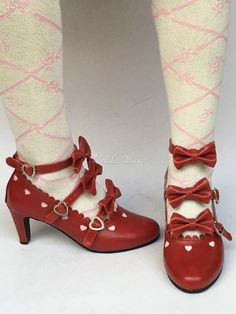 d7e3ccbe2463 Lolitashow Pointed Toe Lolita Shoes Ture Red Kitten Heel Bows Sweet Lolita  Shoes - Lolitashow.