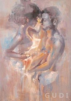 GUDI-Modern hand-painted oil painting abstract art on Canvas Embrace Lover