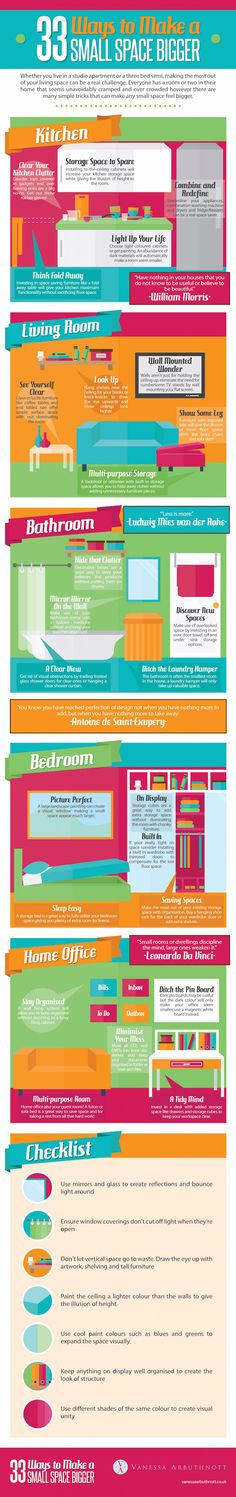 INFOGRAPHIC: 33 Clever tricks to make any tiny space feel bigger | Inhabitat - Sustainable Design Innovation, Eco Architecture, Green Building
