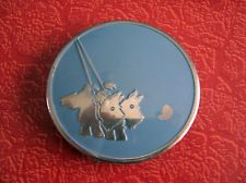vtg art deco  dog ,2 scotties design silvertone blue enameled compact