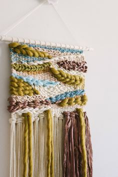 Desert woven tapestries are made to compliment the watercolor pieces. Hang both on your wall for a coordinated completed look. Weaving Wall Hanging, Weaving Art, Tapestry Weaving, Hand Weaving, Boho Nursery, Girl Nursery, Nursery Decor, Wall Decor, Roving Wool