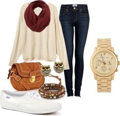 1. Typical school day; this is a really cute outfit for the fall. I probably wouldn't wear all of the jewelry, just the watch....maybe.