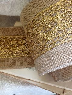 gold lace and burlap ribbon by ShyMyrtle on Etsy, $9.00
