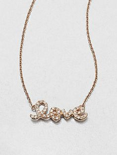 Sydney+Evan Pavé+Diamond+Love+Pendant+Necklace/Rose+Gold