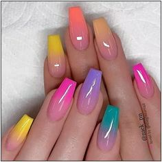 40 Fabulous Nail Designs That Are Totally in Season Right Now - clear nail art d. 40 Fabulous Nail Designs That Are Totally in Season Right Now - clear nail art designs,almond nail art design, acrylic nail art, nail designs with glitter designs Cute Acrylic Nail Designs, Ombre Nail Designs, Nail Art Designs, Nails Design, Ombre Nail Colors, Colourful Nail Designs, Unique Nail Designs, Nail Designs Bling, Colorful Nail Art