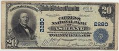 Ashland, PA - Ch. 2280 - $20 1902 Blue Seal This is a great collector note. It is VF with dark stamped signatures. The latest census information indicates that 24 large notes exist. It actually looks like a nicer blue seal has never been offered for sale at a major auction before. So it might take more than $300 to bring this one home.