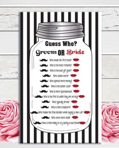 Guess Who bridal shower game with black striped background, red lips, and black mustache.  Fun shower game