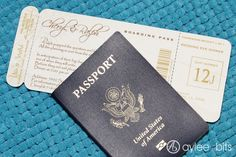 Boarding pass save-the-date by AyleeBits.com