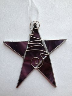 Stained Glass Ornament Purple Star with Wire by MamaAgees on Etsy