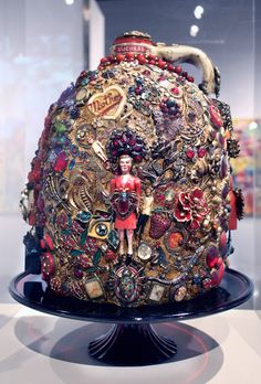 "LAURIE BETH ZUCKERMAN MEMORY JUGS AT LINCOLN CENTER'S VISIONS AND VIEWPOINTS NATIONAL JURIED ART COMPETITION 2012-13-Laurie Beth Zuckerman's ""My Three Mothers"" Memory Jug 2013"