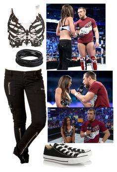 """AJ Lee!!!"" by imblissedoff ❤ liked on Polyvore featuring Tripp and Converse"