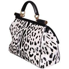 Dolce & Gabbana Black/White Leopard Print Pony Skin Handbag ($3,280) ❤ liked on Polyvore
