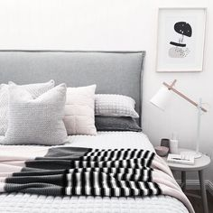 Scandi style master bedroom using pastels, blush, grey & our @yorkelee_prints Wild abstract home art print. Styling and Pic by @the_stables_