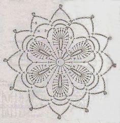Anabelia craft design: Crochet doilies and lace motifs - motif 3 Crochet Motif Patterns, Crochet Diagram, Crochet Chart, Crochet Squares, Thread Crochet, Crochet Doilies, Crochet Flowers, Crochet Stitches, Bag Patterns
