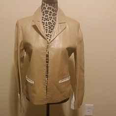 Tan leather jacket with white accents Worn luana Jackets & Coats