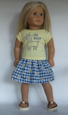 Hey, I found this really awesome Etsy listing at https://www.etsy.com/listing/270445385/18-in-doll-embroidered-yellow-tee-oh