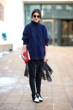 New York Fashion Week Fall 2014 - Leandra Medine in Saint Laurent shoes and Olympia Le Tan clutch