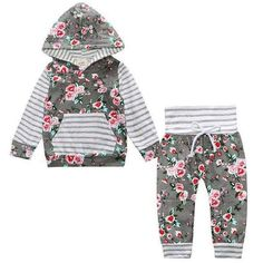 2017 Hot baby Autumn new baby boy clothes Children Baby Girls Long Sleeve Hooded Tops Floral pants 2 pcs. clothing set - Kid Shop Global - Kids & Baby Shop Online - baby & kids clothing, toys for baby & kid Baby Outfits Newborn, Baby Girl Newborn, Baby Boy Outfits, Kids Outfits, Summer Outfits, Fall Outfits, Baby Kleidung Set, Fashion Niños, Baby Set