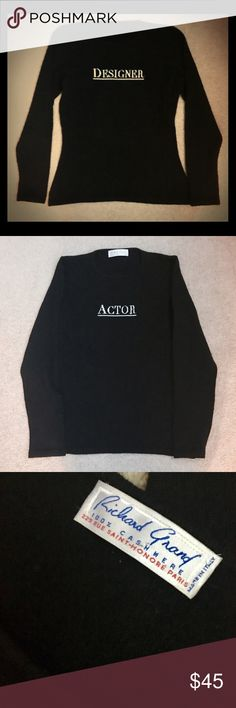 """Cashmere """"Actor/Designer"""" Black Crewneck Sweater Cashmere """"Actor/Designer"""" Black Crewneck Sweater . 100% cashmere made in Italy.  """"Actor"""" on front and """"Designer"""" on back . Very warm but not bulky and super cute ! Richard Grand Sweaters Crew & Scoop Necks"""