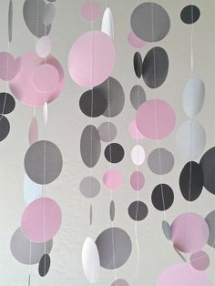Pale PINK, Dark GREY and GREY Circle Confetti Garland - 9 Feet (3 Yards) - Birthday Holiday Mitzvah Wedding Party Decoration by Charmios | Catch My Party