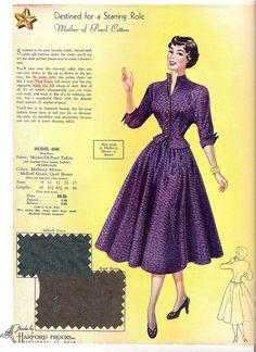 I soooo want this delightfully pretty purple two piece 1950s dress ensemble.