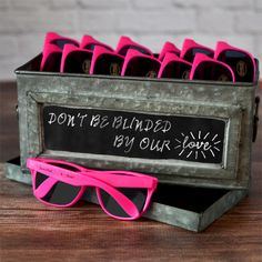 Hot pink plastic frame Wayfarer design 400UV lens sunglasses personalized with the celebrant's name and event date or one-word thank you message. Perfect for graduations, Sweet Sixteens, birthdays, Bat Mitzvah's or any celebration