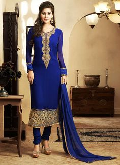 Trendy Blue Georgette Churidar Suit