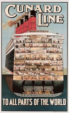 1912 Cunard Line to all the parts of the world, vintage travel poster