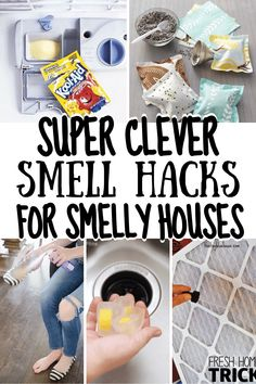 Get your house smelling great with these clever must try smell hacks that help get rid of the stink. From stinky shoes to pet odors and even stinky kitchen smells these clever smell hacks are a great and easy way to get your home smelling great. Homemade Cleaning Products, Household Cleaning Tips, Cleaning Recipes, House Cleaning Tips, Cleaning Hacks, Deep Cleaning, Spring Cleaning, House Smell Good, House Smells