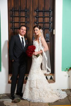 Real bride Carissa chose this Alvina Valenta lace gown style 9161 to go along with her Old Spanish Charm theme