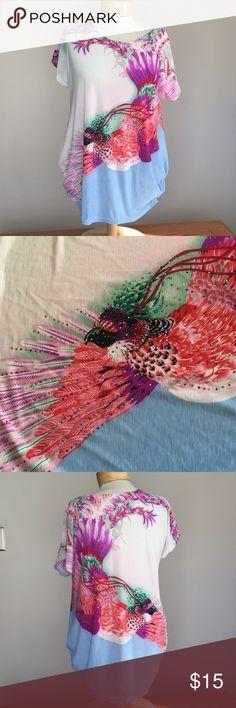 "Julia silk Crystal bird blouse. Size small Excellent condition Julia faux Crystal bird blouse. Size small. 65% silk 35% polyester. 28"" long. Julia Tops Blouses"