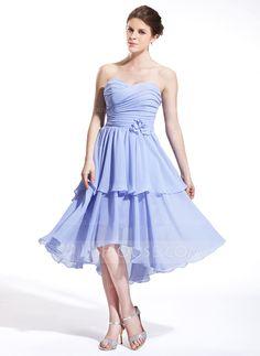 Bridesmaid Dresses - $112.99 - A-Line/Princess Sweetheart Asymmetrical Chiffon Bridesmaid Dress With Ruffle Flower(s) (007026264) http://jjshouse.com/A-Line-Princess-Sweetheart-Asymmetrical-Chiffon-Bridesmaid-Dress-With-Ruffle-Flower-S-007026264-g26264?ver=1