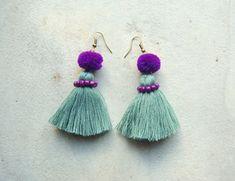Light Grey Tribal Tassel Earrings with Purple Beads and Pom