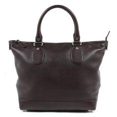 Description: A women's dark brown soft calf handbag by Gucci. Gucci Handbags, Purses And Handbags, Gucci Bags, Designer Handbags, Leather Handle, Tan Leather, Dark Brown, Calves, Shoulder Bag