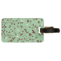 Chocolate Mint Floral Tag For Luggage