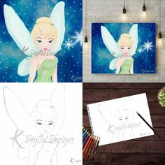 Disney's Tinkerbell painting and coloring page. You can find both of them here.  https://www.etsy.com/shop/KDigitalDesigns  #Tinkerbell #Peterpan #Disney #secondstartotheright #pixie #pixiedust #fairy #tink