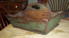 BEST Antique CUTLERY TRAY TOTE CARRIER BOX Old GREEN PAINT 1800s 19thc AAFA