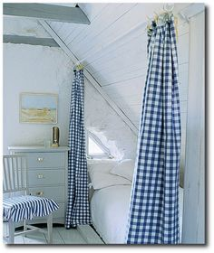 If only I could commit whole heatedly to the blue/white scheme! Love the idea of blue/white gingham curtains!