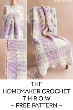Crochet this easy gingham check spring throw blanket afghan with my free pattern and video tutorial! Beginner friendly and instructions to make with any color Crochet Stitches Patterns, Afghan Crochet Patterns, Crochet Patterns For Beginners, Knitting Patterns, Crochet Afghans, Knitting Tutorials, Crochet Blankets, Loom Knitting, Free Crochet